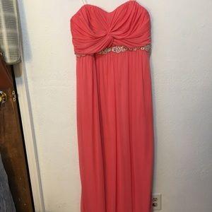 Coral Pink Embellished Flowy Prom Dress